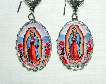 VIRGIN oF GUADALUPE Earrings Altered Art Pierced Dangle Earrings Our Lady Silver Pltd Free USA Shipping