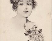 1912 Post Card w/ Beautiful Woman w/ Flowers