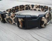 Leopard Print Adjustable Dog Collar With Buckle and D Ring
