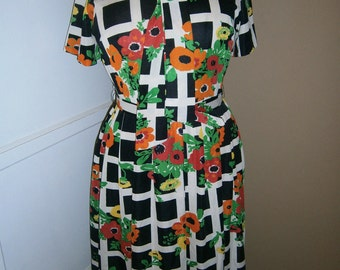 On Sale----Vintage multi color 1960 dress by  The STROLLER