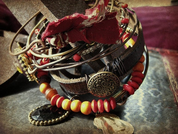 Gypsy bangle stack - eclectic reds and oranges with leather and metal bangles