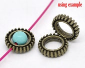 10 Bead Frames - Antique Bronze  - Fits 6mm Beads - 13x3mm - Ships IMMEDIATELY from California - B10