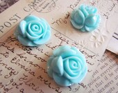 Cabochons Aqua Flowers (Piper Collection) 27x27mm - 3pcs - Ships IMMEDIATELY from California - C09A