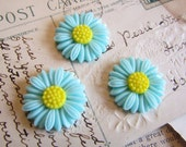Daisy Flower Cabochons Resin in Aqua (Daisy Collection) 27x27mm - 3pcs - Ships IMMEDIATELY from California - C14A