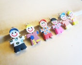5pcs Kid Charms Clay People Assorted 27x17mm - Ships Immediately from California - SC43
