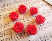 6 Red Cabochons (Ella Collection) 15x7mm - 6pcs - Ships IMMEDIATELY from California - C18R