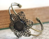 2pcs Antique Bronze Adjustable Flower Filigree Cuff (Holds 15mm)  - Ships Immediately from California - A45