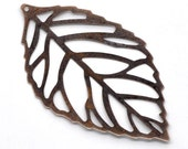20 Copper Leaves Charms - Filigree - 54x32mm - Ships IMMEDIATELY from California - BC325