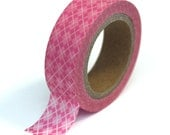 Pink Washi Tape - Argyle Design - 15mmx10m - 1 Roll - Ships IMMEDIATELY from California - TP24