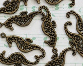50 Seahorse Charms - WHOLESALE - Antique Bronze - 33x10mm - Ships IMMEDIATELY from California - BC14a