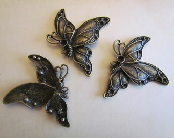 3 Butterfly Pendants - Antique Bronze - 54x46mm - Ships IMMEDIATELY from California - BC109