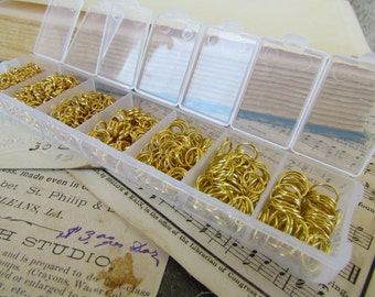 1780pcs Gold Jump Rings Set With Case 3 - 9mm Ships IMMEDIATELY from California - F05