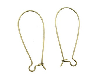 200 Kidney Ear Wires - Antique Bronze - WHOLESALE - 15x35mm - Ships IMMEDIATELY from California - EF05a