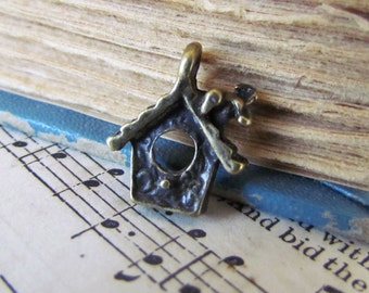 10 Bronze Bird House Charms - Antique - 15x13mm  - Ships IMMEDIATELY from California - BC126