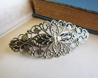 Antique Bronze Filigree French Hair Barrettes 80x35mm 2PCS - Ships IMMEDIATELY from California - HF07
