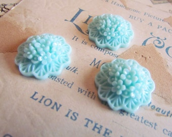 20mm Flower Cabochons in Aqua (Lola Collection) 3pcs - Ships IMMEDIATELY from California - C11A