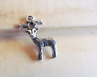 50 Deer Charms - WHOLESALE -  Antique Silver - Deer - 24x19mm - Ships IMMEDIATELY from California - SC29a