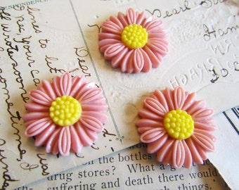 SALE 30 Pink Cabochons (Daisy Collection) - WHOLESALE - 27x27mm - Ships IMMEDIATELY from California - C14Pa