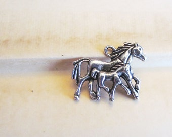 Silver Double Horse Charms 28x23mm 5pcs - Ships IMMEDIATELY from California - SC39