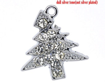 3 Rhinestone Christmas Tree Charms - Antique Silver - 22x21mm - Ships IMMEDIATELY from California - SC60