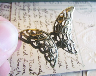 Bronze Filigree Wraps - Antique Bronze - Butterfly - 41x29mm - 10pcs - Ships IMMEDIATELY from California - BC193