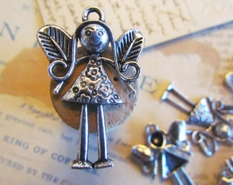 5pcs Small Silver Fairy Charms 25x36mm - Ships Immediately from California - SC76