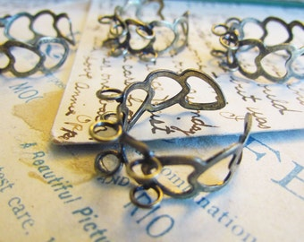 5 Bronze Heart Rings - 6 Holed Setting 18.3mm  - Adjustable - Ships IMMEDIATELY from California - A33