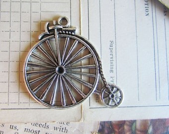 3pcs Silver Bicycle Charms 50x46mm - Ships IMMEDIATELY from California - SC79