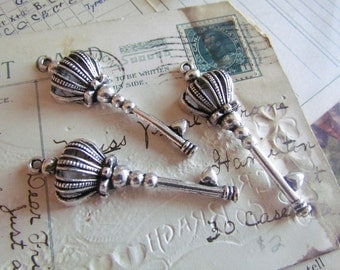 10 Crown Key Charms - Antique Silver - 3D - 57x19mm - Ships IMMEDIATELY from California - SC91a