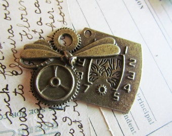 2 Dragonfly Pendants - Antique Bronze - Large - Clock - 47x34mm - Ships IMMEDIATELY from California - BC234