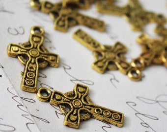Gold Cross Charms 16x26mm 8pcs  - Ships IMMEDIATELY from California - GC07