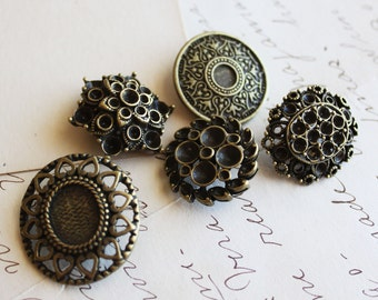 Vintage Shank Buttons 23-29mm Antique Bronze Ornate 5pcs - Ships Immediately from California - A42