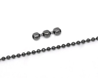Mini Ball Chain Smooth Gunmetal 2.4mm 32 Feet - Ships Immediately from California - CH36