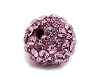 Pink Rhinestone Bead - 8mm - Ships IMMEDIATELY  from California - B63