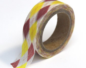 SALE Washi Tape Argyle Pink and Yellow  - 15mmx10m - 1 Roll - Ships IMMEDIATELY from California - TP27