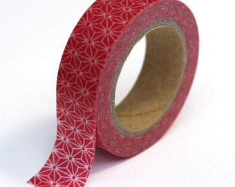 Red Washi Tape - Abstract White Star - 15mmx10m - 1 Roll - Ships IMMEDIATELY from California - TP41