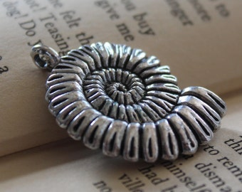 2 Silver Spiral Shell Charms - Antique Silver - 37x27mm - Ships IMMEDIATELY from California - SC212