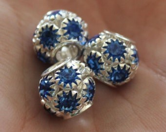 SALE 3 Blue Rhinestone Beads - Antique Silver - Wide Hole - 14x12mm - Ships IMMEDIATELY  from California - B94