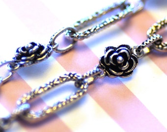 Silver Chain Rose Oval Links 8-21mm 3.3 Feet  - Ships IMMEDIATELY  from California - CH72