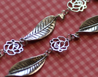 Silver Flower Leaf Link Chain 15x53mm  18x20mm 3.3 Ft - Ships Immediately from California - CH47