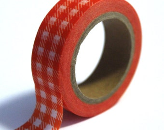 SALE Washi Tape Orange Gingham Plaid - 15mmx10m - 1 Roll - Ships IMMEDIATELY from California - TP78