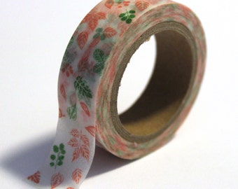 SALE Washi Tape Leaves Pink and Green - 15mm x 10m - TP89