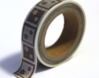 SALE Washi Tape Grey Decorative Squares with Flowers - 15mmx10m - 1 Roll - Ships IMMEDIATELY from California - TP112