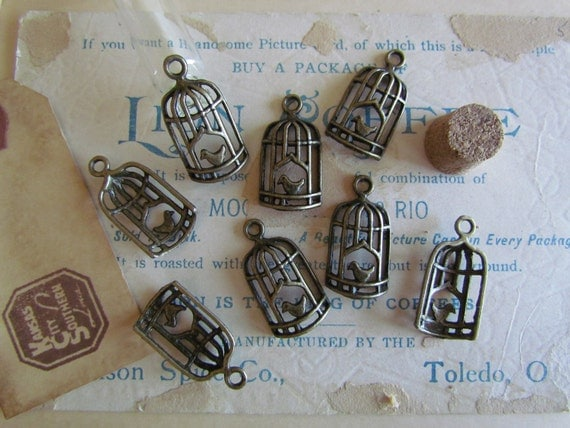 8pcs Antique Bronze Birdcage Charm 27 x 14mm - Ships Immediately from California - BC04
