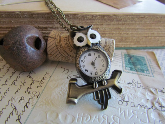 1pc Antique Bronze Owl Pocket Watch 87 x 52mm - Ships Immediately from California - PW01