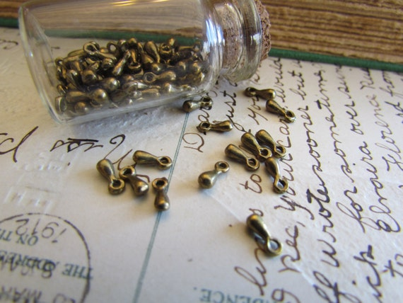 50 pcs Antique Bronze Drop Charms 7 x 3mm - Ships IMMEDIATELY from California - BC57