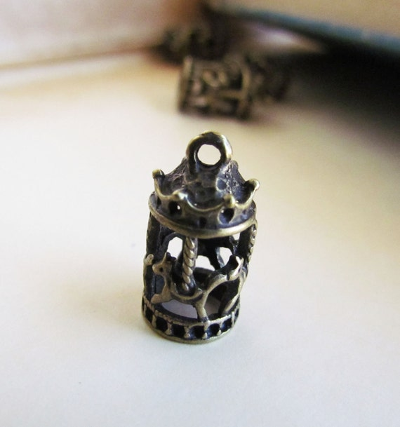 5pcs Antique Bronze 3D Carousel Charms 19x10mm - Ships IMMEDIATELY from California - BC140