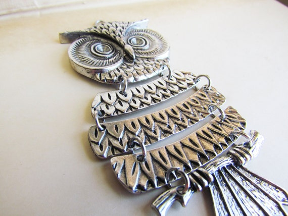 Owl Silver Charms Dangly LARGE  104x48mm 1pc - Ships IMMEDIATELY from California - SC14