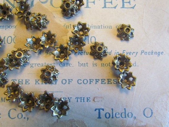 Bead Caps Flowers 8x3mm Antique Bronze 25pcs - Ships IMMEDIATELY from California - B23