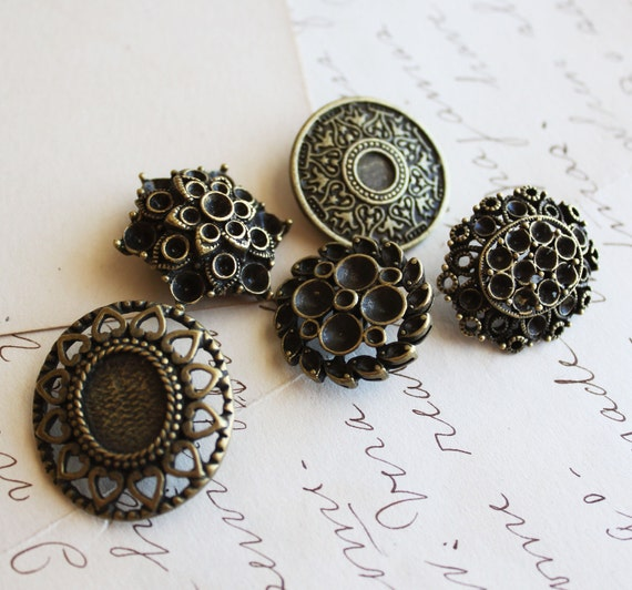 50 vintage buttons with shanks wholesale antique bronze for Buttons with shanks for jewelry